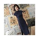 XYBB Vestidos de Boda Tradicional China for Las Mujeres orientales Elegante clásico Delgado de algodón Cheongsam Qipao Larga de Lino de la señora Banquete (Color : Color 1, Size : L.)