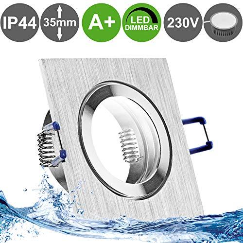 MARE IP44 5er Set LED Bad Einbaustrahler 5W dimmbar extra flach 230V Decken Spot Aluminium gebürstet eckig Neutral-Weiß (4000k) nur 35 mm Einbautiefe für Bad Feuchtraum außen