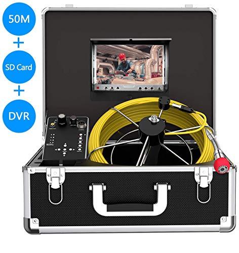 HBUDS Rohr-Inspektionskamera, Endoskop Schlange Wasserfest IP68 Kamera, mit 50m Kabel für Techniker/Mechaniker/Klempner mit 7 Zoll LCD-Monitor 1000TVL DVR Recorder (8G SD-Karte inklusive)