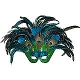 Amakando Wunderschöne Pfauen-Federmaske für Damen / ca. 40 x 60 cm / Auffällige Augenmaske Paradiesvogel / EIN Highlight zu Karneval & Mottoparty