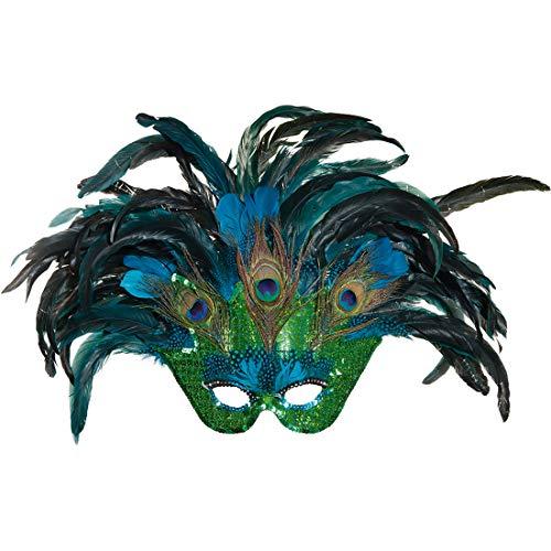 Máscara veneciana de pavo real para adultos | Aprox. 40 x 60 cm | Sofisticado accesorio para disfraz carnaval en Venecia para mujer | El centro de atención para carnavales y fiestas de máscaras