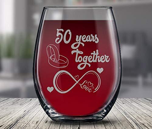 Gouden verjaardagscadeau voor hem en haar getrouwd voor 50 jaar 50e verjaardag wijnglas voor man vrouw 50 jaar samen met haar