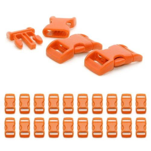 """Fermoir à clip en plastique, idéal pour les paracordes (bracelet, collier pour chien, etc), boucle, attache à clipser, grandeur: 3/8"""", 29mm x 15mm, couleur: orange, de la marque Ganzoo - lot de 20 fermoirs"""