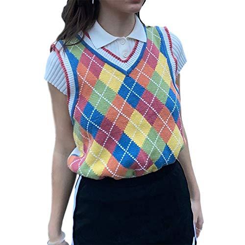 Mujeres Streetwear Preppy Style Prendas de punto Tank Top Cuello en V Argyle Plaid Suéter Chaleco - - Talla Única
