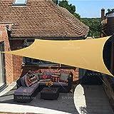 SANDEGOO Sun Shade Sail Rectangle 6' x 10',95% UV Block 185 g/m² Heavy Duty Shade Cloth,Wind -Proof Sun-Proof Sunshade Canopy Over 3 Years Used Outdoor,Sand Color (6' x 10' Rectangle)
