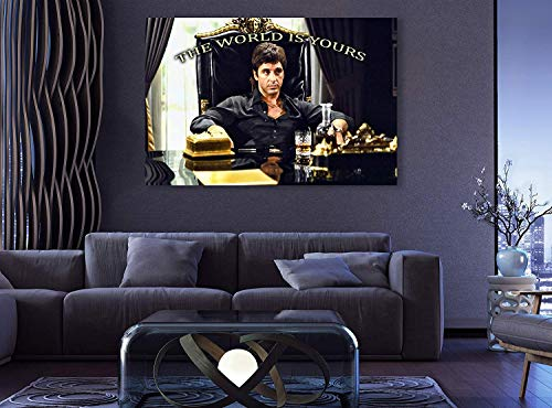 Scarface Tony Montana King Edition Premium The World is Yours Al Pacino XXLL Wall Decor/Home Decoration Stretched Gallery Canvas Wrap Giclee Print Ready to Hang (8' HX12 W)