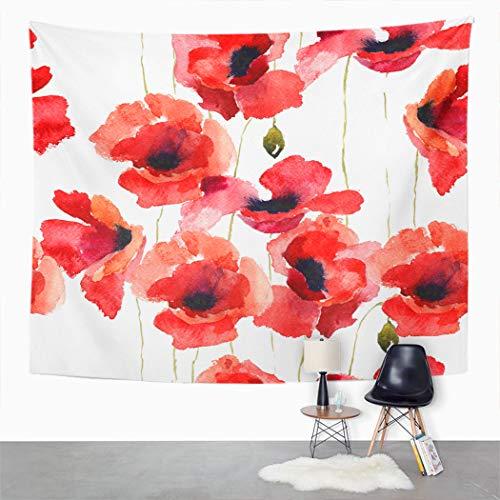 Y·JIANG Tapiz de flores de amapola, flores retro, acuarela floral, rojo, botánico para el hogar, dormitorio, manta ancha para colgar en la pared para sala de estar, dormitorio, 80 x 60 pulgadas