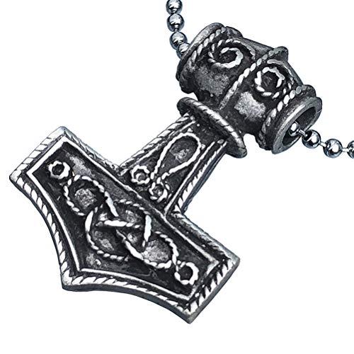 Viking Thor Jewelry Mjölnir Mjolnir Norwegian Swedish Thor's hammer 2 sided Pewter Men's Pendant Norse Necklace Celtic Asatru Wealth Travel Talisman Charm Protection Amulet for men w Silver Ball Chain