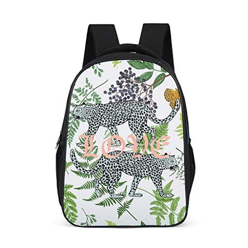 XJJ8 2 Leopards Backpack Fashion Lightweight Book Bags - Love Leopard Printed Satchel International Travel Use for Men Grey OneSize