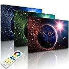 Lightbox-Multicolor   LED Bild Leuchtbild   Erde im Weltall   100x70 cm   Fully Lighted