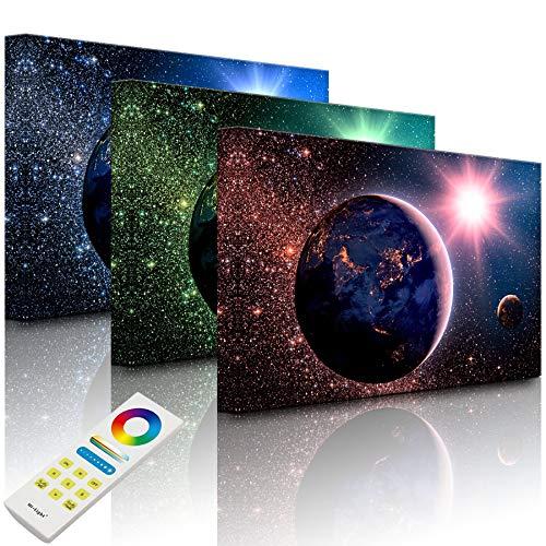 Lightbox-Multicolor | LED Bild Leuchtbild | Erde im Weltall | 100x70 cm | Fully Lighted