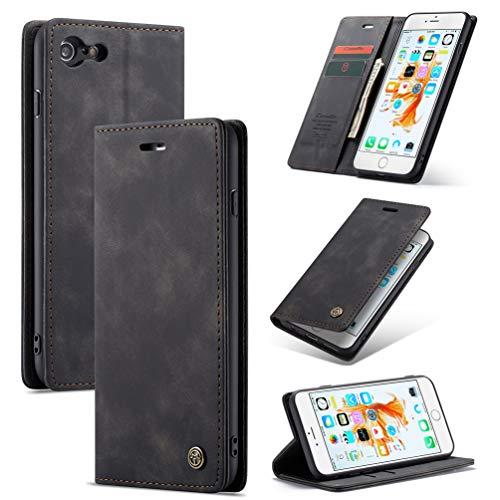 ToneSun Funda para iPhone 6 Plus/iPhone 6S Plus, funda de piel con billetera, funda con tapa para teléfono móvil, funda multifunción, funda para cartera – Negro