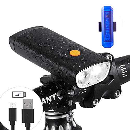Multi-Functions Rechargeable 1000 Lumens Bike Light & Bike Taillight Set- Super Bright Bicycle Headlight with 5000mA Power Bank -Come with USB Bike Taillight &Magic Scarf as Bonus