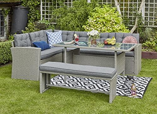 YAKOE R8CSD11-NTX Outdoors Rattan Corner Garden Furniture Sofa 8 Seater with Bench Dining Set Dark Grey