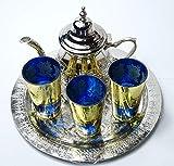 Juego de te marroquí pequeño artesanal : bandeja 25 cm + tetera + 3...