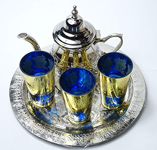 Juego de te marroquí pequeño artesanal : bandeja 25 cm + tetera + 3 vasos de cristal