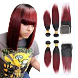 Brazilian Burgundy Straight Bundles with Closure,12 14+10 Inches Ombre Red Wine Virgin Human Hair 2 Bundles with 4x4 Lace closure 1b99j Black To Wine Red Color Short Hair Weave Extensions