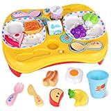 WisaKey Play Food for Toddlers, Pretend Food Toys with Music for Preschoolers Kids Early Educational Kitchen Playset with Realistic Colors