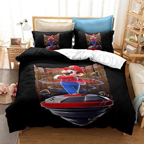 Juego de ropa de cama de Super Mario 3D para niños, 100% microfibra, funda de edredón Super Mario Bros para cama individual, doble y king para decoración de dormitorio de niños (C3, 220 x 240 cm)