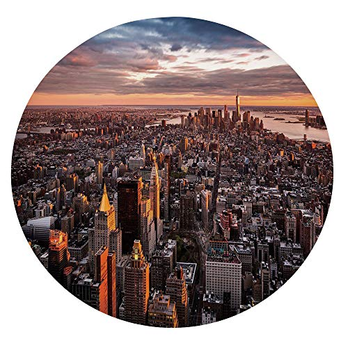 "Elastic Edged Polyester Fitted Table Cover,Aerial View of the Manhattan Skyline at Sunset Famous Financial District NYC Table cloth,Fits Round Tables 45-48"",for Dining Room Kitchen Party Blue Orange W"