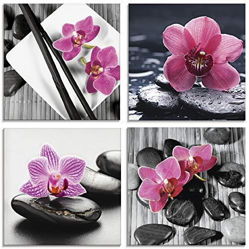 Artland Glasbilder Wandbild Glas Bild Set 4 teilig je 20x20 cm Quadratisch Asien Wellness Zen Spa Blumen Orchideen Steine Entspannung Pink S6MO