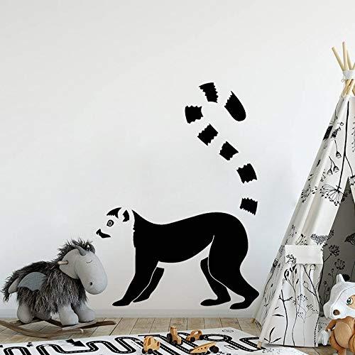 Pegatinas de pared de lémur de dibujos animados creativos pegatina de animales africanos Mural vinilo extraíble pegatina de fondo Mural 57x84cm