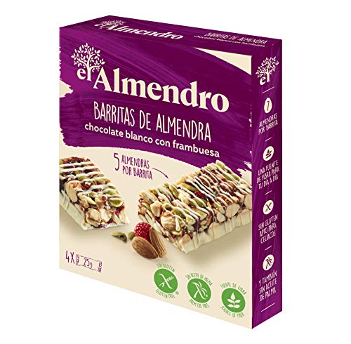 El Almendro - Barritas de Almendra, Chocolate Blanco y Frutos Rojos - 4x25 gr - Sin Gluten - Sin Aceite de Palma - Fuente de Fibra