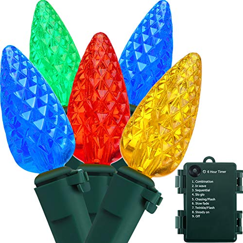 16.4 ft Strawberry Bulbs String Lights Outdoor C3 Christmas Tree String Lights 50 LED Battery Operated Fairy Lights with Timer for Christmas Wedding Party Indoor Outdoor (Yellow, Red, Green, Blue)