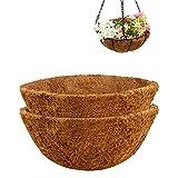 Ledeak Cesta Colgante para Plantas , 2 Colgadores de Fibra de Coco de Macramé Soporte para Plantas Colgantes Macetas de Flores para Interior Exterior Jardín Decoraciones de Pared 14 Pulgadas