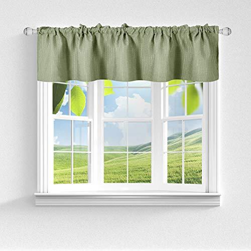 Barossa Design Querbehang aus Waffelgewebe für Küche oder Bad, wasserabweisend, kurze Länge und kleine Halbfensterbehandlung – Salbeigrün, 152,4 cm B x 45,7 cm H