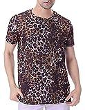 COSAVOROCK Camiseta de Estampado Hombre Leopardo Camuflaje de Manga Corta (L, Marrón)
