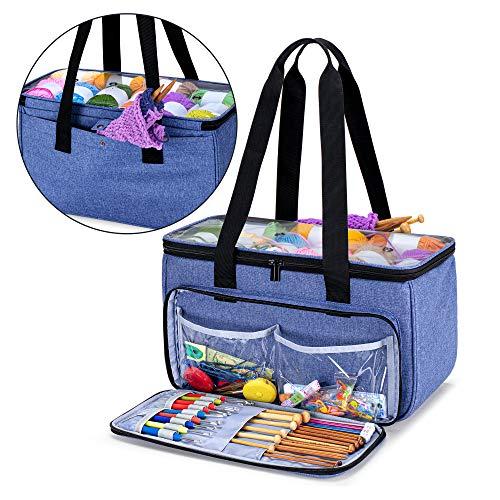 Yarwo Tasche für Garnaufbewahrung, Stricktasche zur Aufbewahrung von Wolle, Handarbeitstasche mit Großer Kapazität für Häkelnadeln, Strickgarn und Stricken Zubehör, Blau