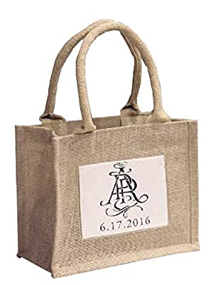 Mini Jute Gift Tote Bags w/ Clear Pocket for Wedding Favors, Crafts, Decorations