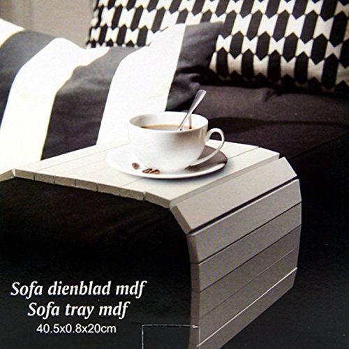 DRULINE Sofatablett Biegsam Ablage Abstellplatz für Snacks und Getränke anpassend | L x B x H 40 x 20 x 0.5 cm | Weiß