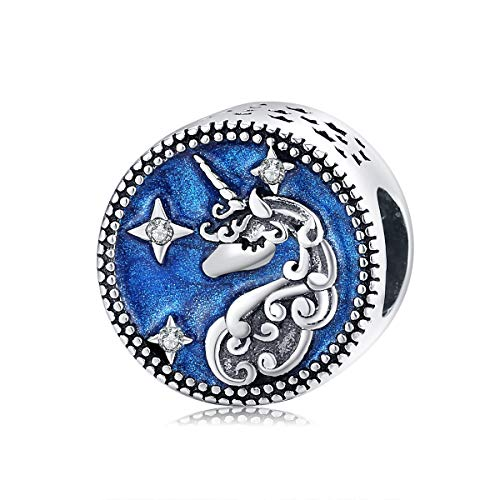 Teleye Abalorio de pulsera de plata de ley 925 con diseño de unicornio estrellado, compatible con pulseras Pandora, pulseras europeas