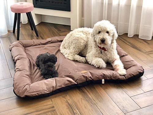 Meisterpets Hundebett Hundekissen Hundekorb Hundesofa Hundedecke Katzenbett Tierbett W-04 (XXXL (140x105x17), Braun/Schwarz)