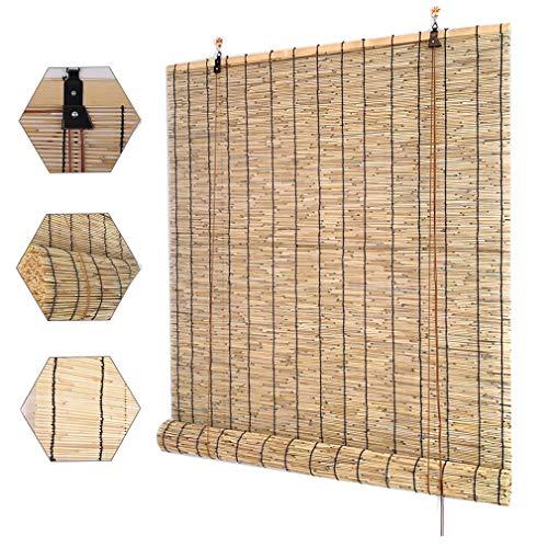Außen Rollo Bambus,Breite 50 -140cm Retro-Schilf Vorhang,Sichtschutz Bambusrollo Rollläden,Lichtfilterung Sonnenschutz Wärmedämmung Roman Jalousien,für Außen/Innen,Anpassbar(100x120cm/39x47in)