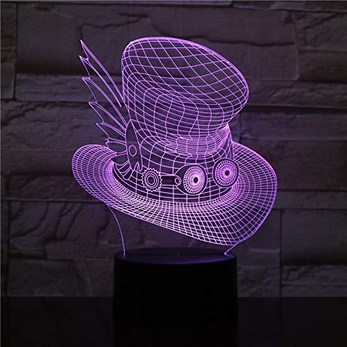 Lámpara de mesa 3D lámpara de mesa multicolor con sombrero mágico, luz de noche LED, lámpara de decoración de dormitorio para dormir USB