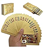 POPOUGE 2 Decks $100 USD banknotes 24K Gold Foil Playing Cards, Waterproof Gold Plated Deck Poker Cards Game, for Table Games, Poker Cards Games, Magic Props, Good Gift for Men