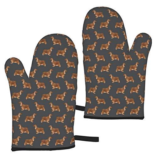 Eybfrre Cocker Spaniel Perro Caza Perro Patrón Sombra Gris Duradero y Mejorado Horno de microondas Aislamiento térmico Guantes de Horno Gruesos Guantes