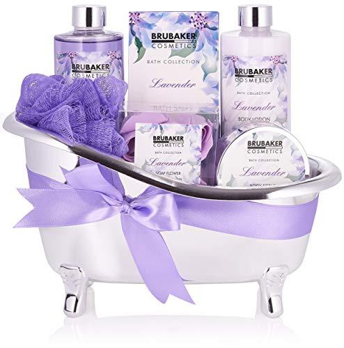 BRUBAKER Cosmetics Bade- und Dusch Set Lavendel - 7-teiliges Geschenkset in dekorativer Wanne