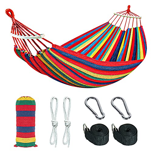 Gonioa Brazilian Camping Hammock Extra Large Canvas Cotton Hanging Hammock Hold 450lbs,Two Person...