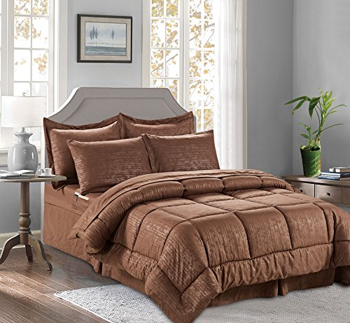 Elegant Comfort Best, Luxury, Coziest 8-Piece Bed-in-a-Bag Bamboo Pattern Comforter Set! Silky-Soft Complete Set Includes Bed Sheet Set with Double Sided Storage Pockets, Full/Queen, Chocolate