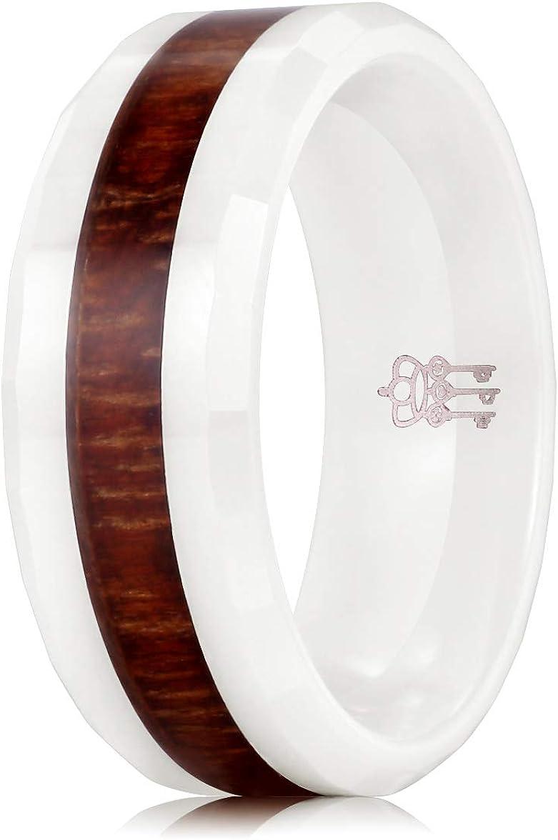 THREE KEYS JEWELRY 4mm 6mm 8mm White Ceramic Wedding Ring with Hawaiian Koa Wood Inlay Men's Wedding Band Engagement Ring
