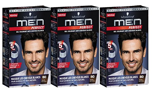 Schwarzkopf Men Perfect doux Gel de couleur Naturel Marron moyen – 80 Noir naturel Marron (3er Lot)