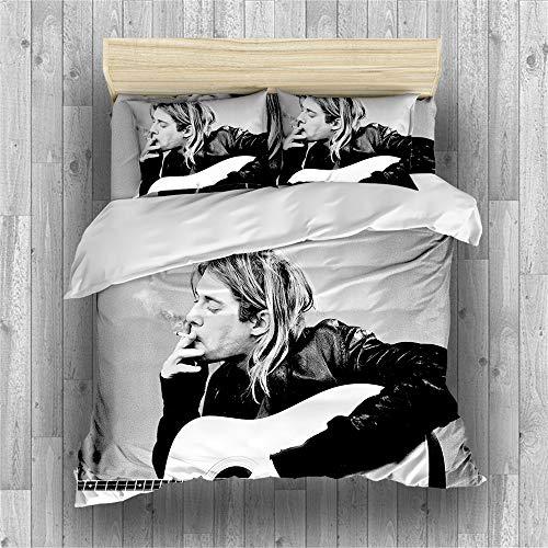 REALIN Nirvana Singer and Guitarist Kurt Cobain Duvet Cover Set American Rock Band Bedding Grunge Bed Sets 2/3/4PCS Quilt Covers/Sheets/Pillow Shams,Single/Double/King (B,Single-140×210cm-3PCS)