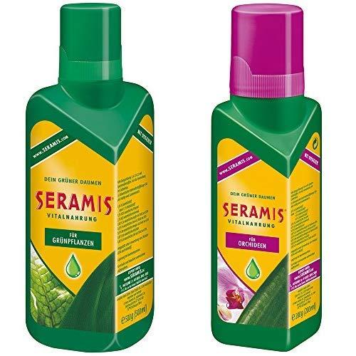 Seramis Flüssiger Pflanzendünger mit Dosierhilfe für alle Grünpflanzen, Vitalnahrung, 500 ml, Grün & Flüssiger Pflanzendünger mit Dosierhilfe für Orchideen, Vitalnahrung, 200 ml, Grün