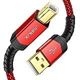 JSAUX USB Druckerkabel 3M Scannerkabel USB B Kable USB A auf USB B Drucker Kabel Printer Cable Kompatibel für HP, Canon, Brother, Epson, Lexmark, Xerox, Samsung, Dell - ROT