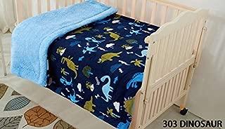 Elegant Home Kids Soft & Warm Multicolor Fun Dinosaurs Design Sherpa Baby Toddler Boy Blanket Printed Borrego Stroller or Baby Crib or Toddler Bed Blanket Plush Throw 40X50 (Dinosaur)