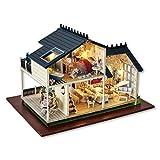 IV2 Maquette Maison Bois avec Light Music Accessoires et Meubles de Maison de Poupée Jouet Familial en Bois pour Garçons Filles Adultes